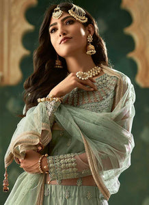 Mint Green and Gold Embroidered Lehenga 2