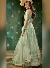 Load image into Gallery viewer, Mint Green and Gold Embroidered Lehenga 3