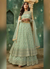 Load image into Gallery viewer, Mint Green and Gold Embroidered Lehenga 4