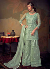 Load image into Gallery viewer, Mint Heavy Embroidered Net Sharara Style Suit