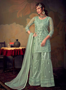 Mint Heavy Embroidered Net Sharara Style Suit