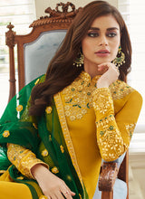 Load image into Gallery viewer, Mustard and Gold Embroidered Straight Pant Style Suit 2