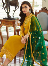 Load image into Gallery viewer, Mustard and Gold Embroidered Straight Pant Style Suit 3