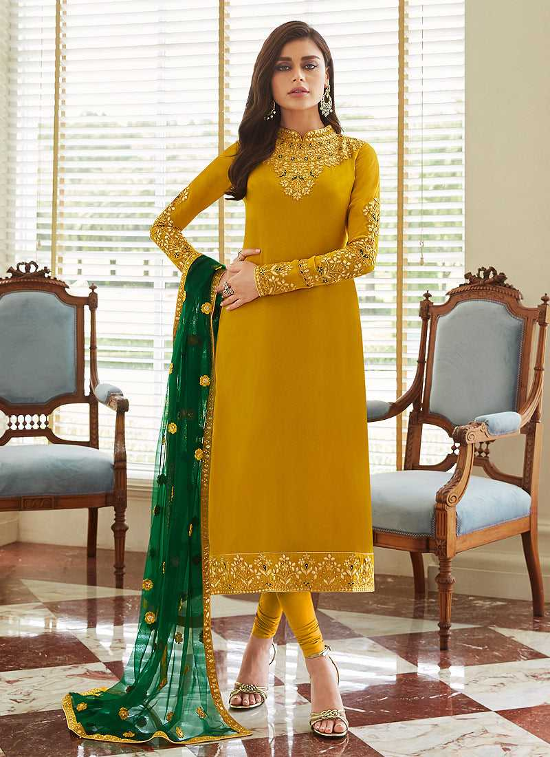 Mustard and Gold Embroidered Straight Pant Style Suit
