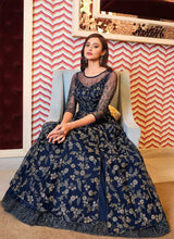 Load image into Gallery viewer, Navy Blue Heavy Embroidered Lehenga Style Anarkali