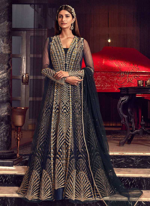 Navy Blue and Gold Heavy Embroidered Jacket Style Anarkali