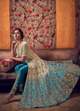 Load image into Gallery viewer, Off-White and Blue Heavy Embroidered Lehenga/ Pant Style Anarkali 2