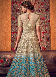 Off-White and Blue Heavy Embroidered Lehenga/ Pant Style Anarkali 3
