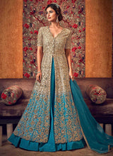 Load image into Gallery viewer, Off-White and Blue Heavy Embroidered Lehenga/ Pant Style Anarkali