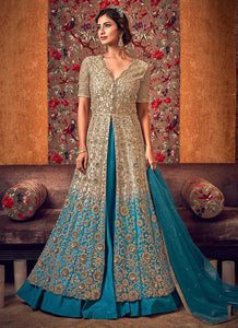 Off-White and Blue Heavy Embroidered Lehenga/ Pant Style Anarkali