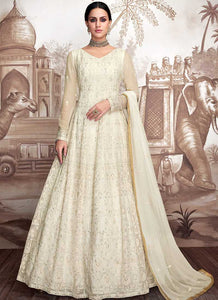 Offwhite Heavy Embroidered Anarkali Suit
