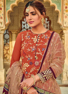 Orange Embroidered Palazzo Style Suit