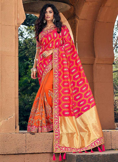 Orange and Pink Embroidered Bollywood Style Saree