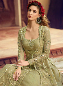 Pastel Green Heavy Embroidered Jacket Style Lehenga 2