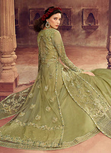 Pastel Green Heavy Embroidered Jacket Style Lehenga 3