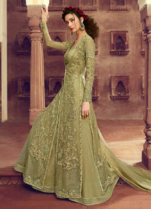Pastel Green Heavy Embroidered Jacket Style Lehenga 4