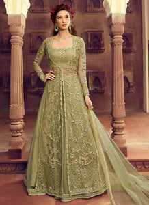 Pastel Green Heavy Embroidered Jacket Style Lehenga