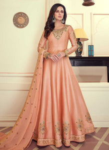 Peach Colored Kalidar Embroidered Silk Voluptuous Gown