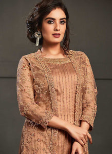 Peach Heavy Embroidered Jacket Style Anarkali Suit