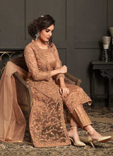 Load image into Gallery viewer, Peach Heavy Embroidered Jacket Style Anarkali Suit