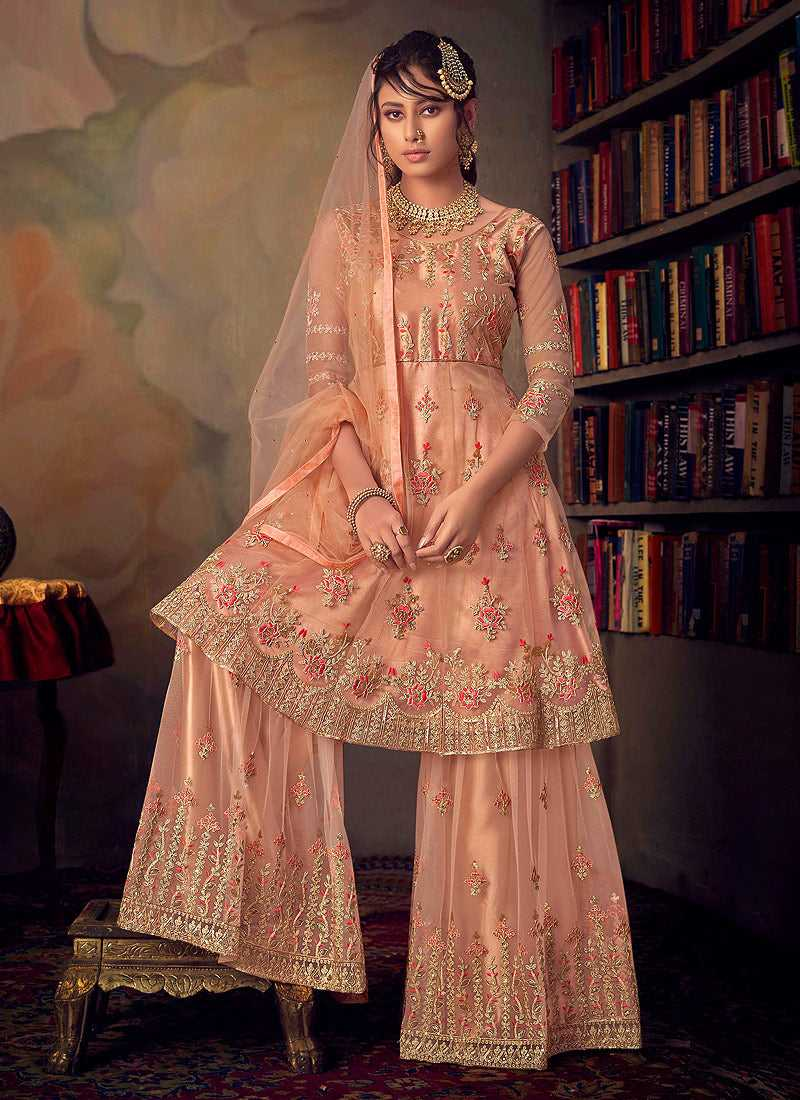 Peach Heavy Embroidered Net Sharara Style Suit