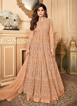 Load image into Gallery viewer, Peach Lucknowi Work Embroidered Anarkali style Lehenga