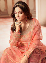 Load image into Gallery viewer, Peach and Gold Embroidered Sharara Style Suit 2