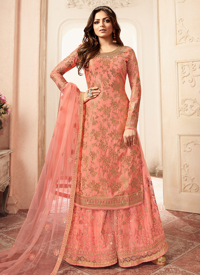Peach and Gold Embroidered Sharara Style Suit