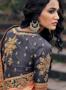 Peach and Grey Embroidered Bollywood Style Saree