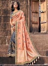 Load image into Gallery viewer, Peach and Grey Embroidered Bollywood Style Saree
