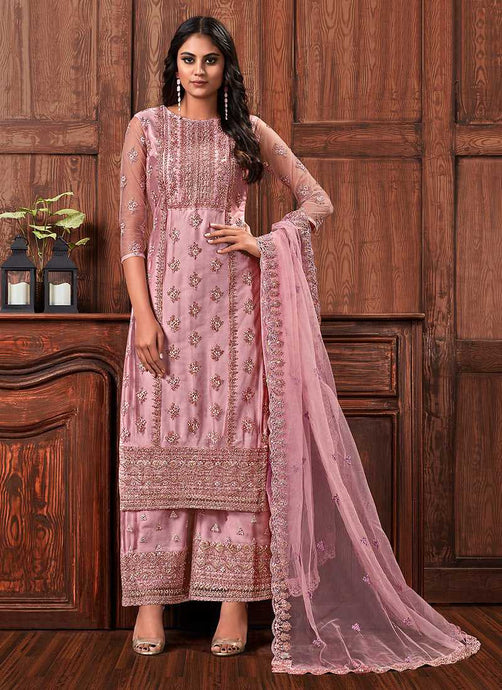 Pink Color Heavy Embroidered Plazzo Style Suit