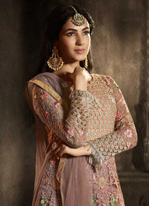 Pink Floral Embroidered Heavy Anarkali Suit