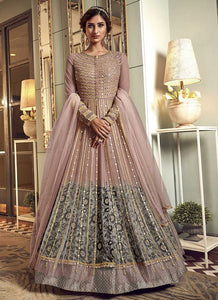 Pink Heavy Embroidered Gown Style Anarkali Suit
