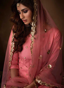 Pink Sequins Work Embroidered Gharara Style Suit