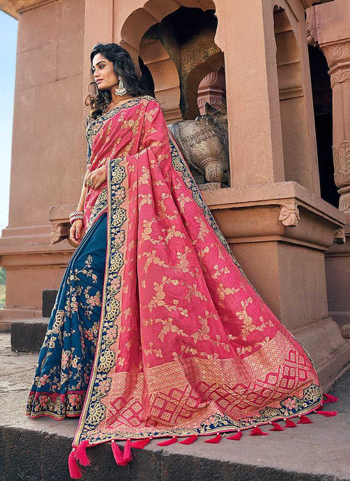 Pink and Blue Embroidered Bollywood Style Saree