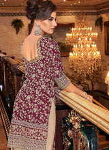 Load image into Gallery viewer, Pink and Cream Embroidered Sharara Style Suit
