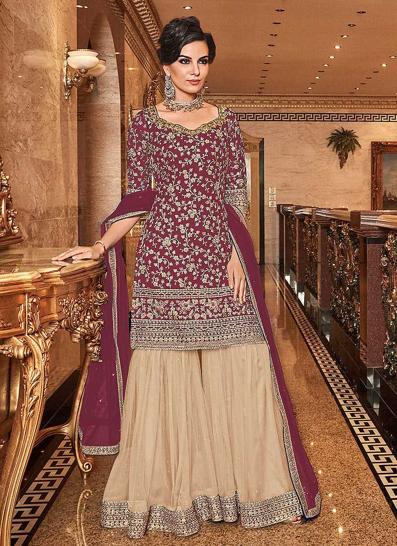 Pink and Cream Embroidered Sharara Style Suit
