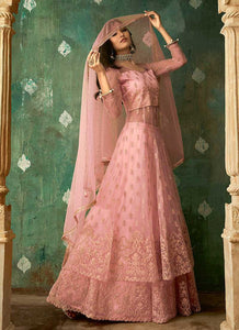 Pink and Gold Embroidered Lehenga 4