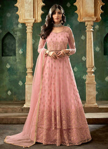 Pink and Gold Embroidered Lehenga