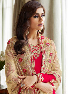 Pink and Gold Embroidered Straight Pant Style Suit