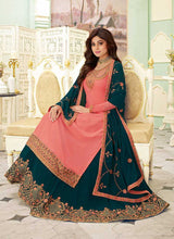 Load image into Gallery viewer, Pink and Teal Embroidered Lehenga Style Anarkali Suit