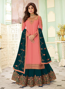 Pink and Teal Embroidered Lehenga Style Anarkali Suit