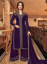 Load image into Gallery viewer, Purple Embroidered Plazzo Style Suit
