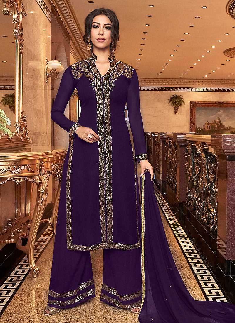 Purple Embroidered Plazzo Style Suit