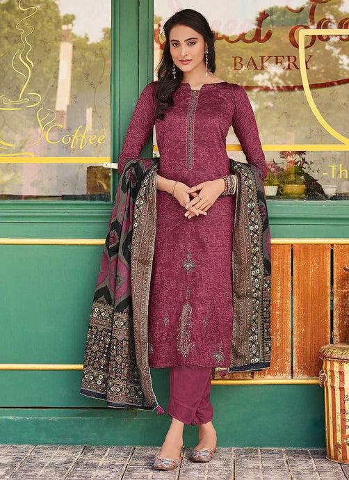 Purple Embroidered Straight Pant Style Suit