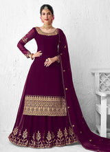 Load image into Gallery viewer, Purple Heavy Embroidered Lehenga Style Anarkali Suit