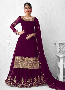 Purple Heavy Embroidered Lehenga Style Anarkali Suit