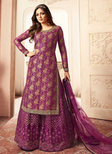 Load image into Gallery viewer, Purple and Gold Embroidered Sharara Style Suit