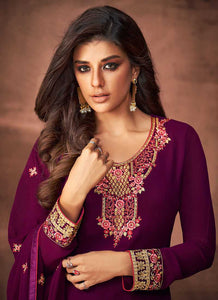Purple and Gold Embroidered Straight Pant Style Suit