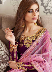 Purple and Gold Embroidered Straight Pant Style Suit 4